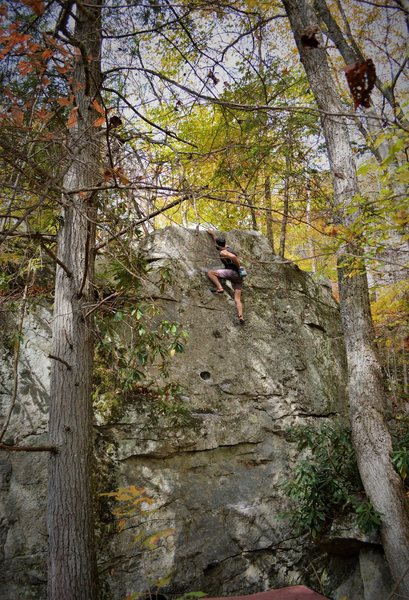 """Aaron Parlier on the FA of """"Saffron"""" (V2) on the Spice Boulder"""