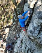 Rock Climbing Photo: Codey Sivley at the crux of Butter Chubs (5.7), ph...