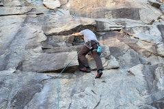 Rock Climbing Photo: Climbing to the second bolt.