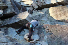 Rock Climbing Photo: Getting into position to pull the block.