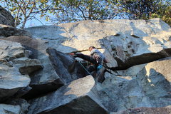 Rock Climbing Photo: The last move to the ledge. You can go ahead and g...