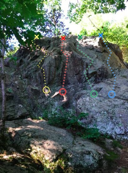 """Rock Climbing Photo: Rocky Ledges routes """"Nectar"""" in yellow (..."""