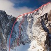 Long-dashed line represents route, small dotted line represents class 3+ scramble to the summit. Solid line is decent route, down the 70 degree couloir to climbers left.