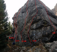 Rock Climbing Photo: A topo of the routes.