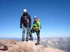 Jim and me summiting Longs in June 2012