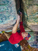 Rock Climbing Photo: Jacob Krenn flirting with the business on Helen.