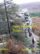 Top of Rainy Wednesday Tower as viewed from East Bluff Trail. If you're top-roping this one, you have to scramble down from the trail and then back up to the top of the tower.