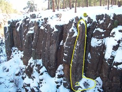 Mohairs Pinnacle and belay ledge outlined and covered in white. Photo Cred:CO_Michael