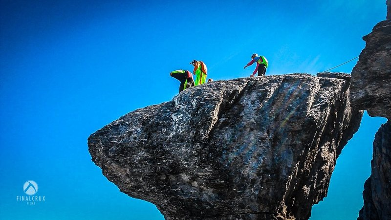 taking the quick way down after climbing the west ridge route of the Eiger.
