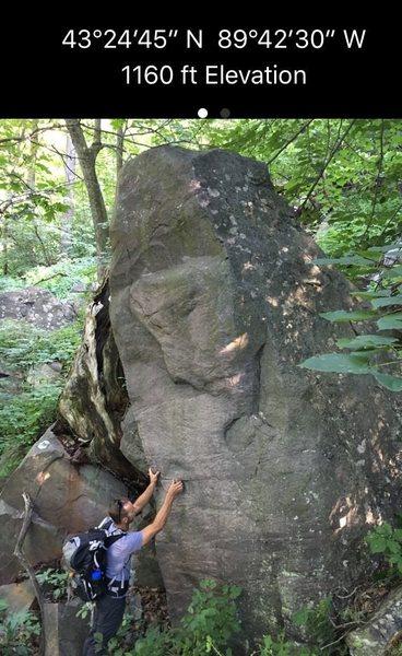 Rock Climbing Photo: Freestanding boulder with the iPhone GPS coordinat...