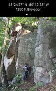 Rock Climbing Photo: Little (tall) wall with the GPS coordinates on it ...
