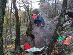 Rock Climbing Photo: Committing last move on the possible FA, if anyone...