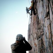 "Rock Climbing Photo:  From the ""Danger High Voltage Ledge"" at..."