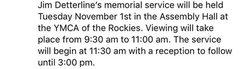 Memorial Service details