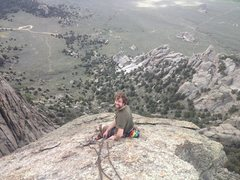 Rock Climbing Photo: View from the top.  The rappel station from the to...