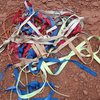 Cleaned up and replaced all rap anchor webbing 10/29/2016.  Seriously; this all came from three rap stations, and one of them was bolts with chains.  Please remove old web when adding new.