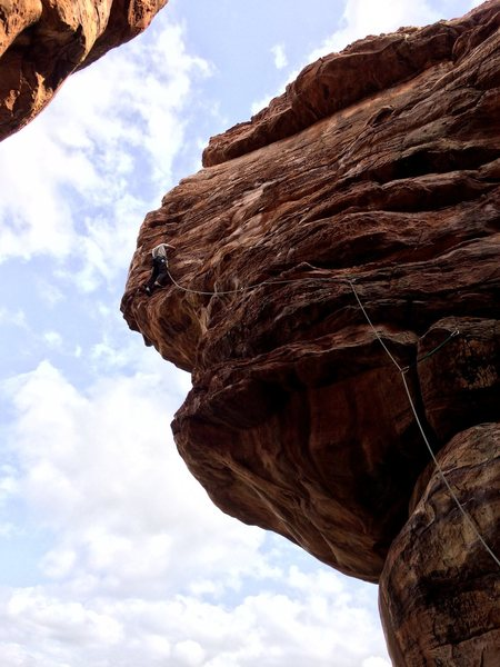 Such a fun route! Poonam on belay.<br> <br> Photo by Ganesha Waddar.