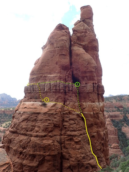 Lower Pitches. Yellow is preferred to reduce drag, but the belay is easier on green using the rap slings as anchor.