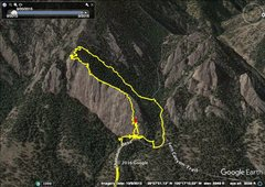 Rock Climbing Photo: GPS route for The Slab - Bulges, 5.2.    The route...