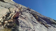 Rock Climbing Photo: Our Pitch 9. From the comfy ledge next to some bro...
