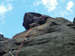 Rock Climbing Photo: It can get pretty cramped under that roof.  Harder...