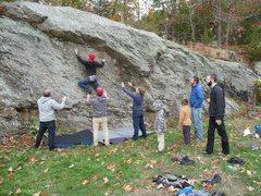 Rock Climbing Photo: Lance on the traverse