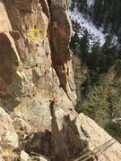 Rock Climbing Photo: View from the top.  My rope is attached to the cha...