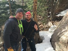 Rock Climbing Photo: Christian and Alex at the base of Little Mutt / Lo...