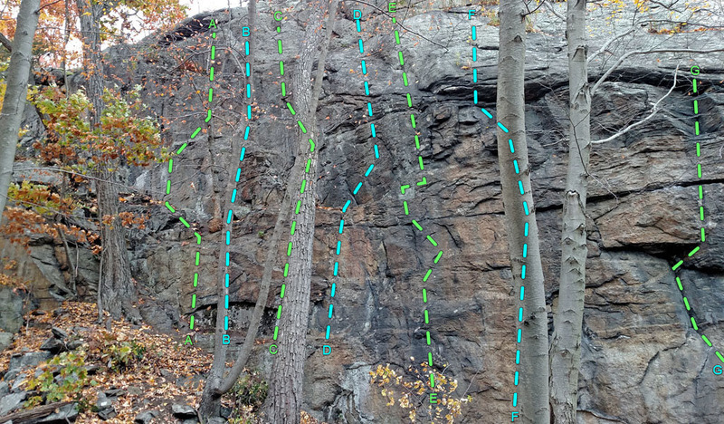 Rock Climbing Photo: Daves Wall left side - routes: A. El Sendero Diabl...