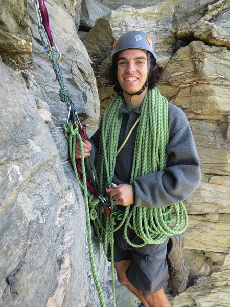 At the belay ledge after the first pitch