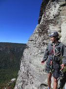 Standing on the third belay ledge
