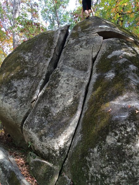 Rock Climbing Photo: The left crack of the two shown.