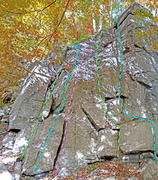 Rock Climbing Photo: Scheyichbi sector - West end: A. West Dihedral B. ...
