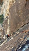 Rock Climbing Photo: The finger crack section on pitch 2 (you can't...