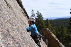 Rock Climbing Photo: Placing gear in the wide part.  Can't really j...