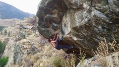 Rock Climbing Photo: Setting up for the crux move after climbing out of...