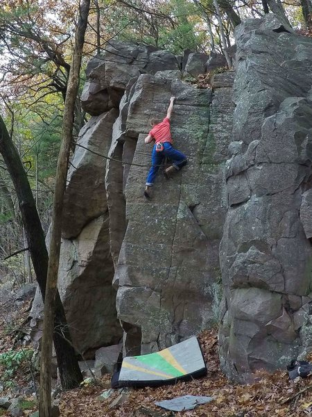 """This is called """"I See The Bucket"""", 5.11a without the corner (the variation) or 5.10b with the corner.  It's listed on MP as a boulder problem (linked below in a comment)."""