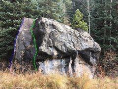 Rock Climbing Photo: Blue - Jelly Bean Arete, V3. Green - Bunny Slope, ...