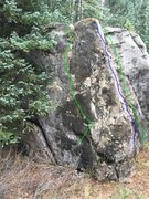 Rock Climbing Photo: Left to right:  Green - The 2am Tip Toe, V6. Blue ...