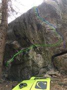 Rock Climbing Photo: Overhung backside of the Easter Egg Boulder.  Gree...