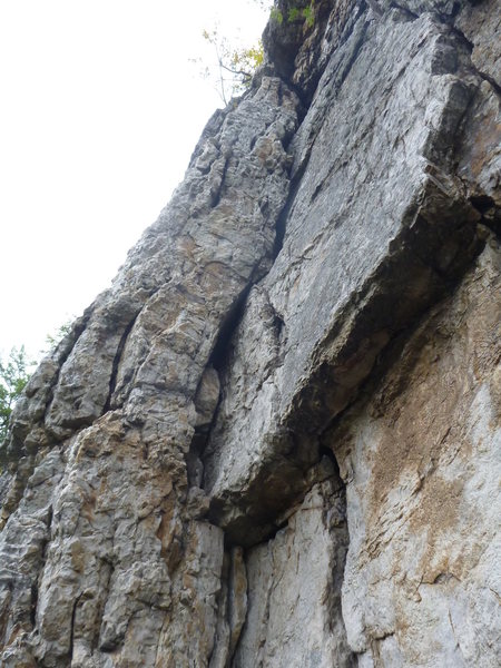 Rock Climbing Photo: looking up P2 of EJ from the ledge at the top of P...