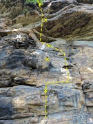 Rock Climbing Photo: 1865 moves up the ledge then steps right to move u...
