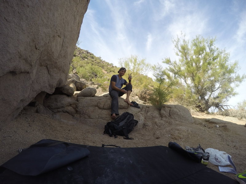 after climbing pencil thin right at beardsley boulders