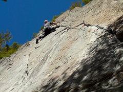 Rock Climbing Photo: Onsighting the beautiful thin crack. Photo by Jon ...