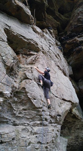 King Ducky, Sport 5.5, RRG October 2016<br> <br> My first lead climb.