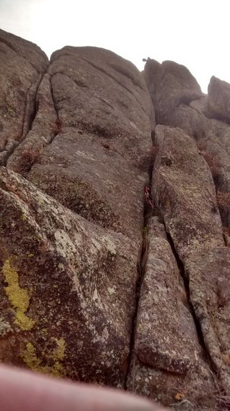 Rock Climbing Photo: Ross is on the ledge at the base of the summit blo...