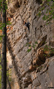 Rock Climbing Photo: Moving towards the crux on Primus Noctum (5.12a)