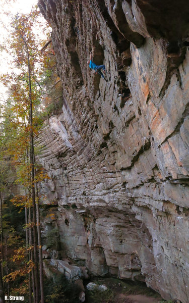 Jed starts the slopey crux on <br> Fruit by the Foot (5.12a/b)