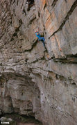 Rock Climbing Photo: The thin technical first crux on Fruit by the Foot...