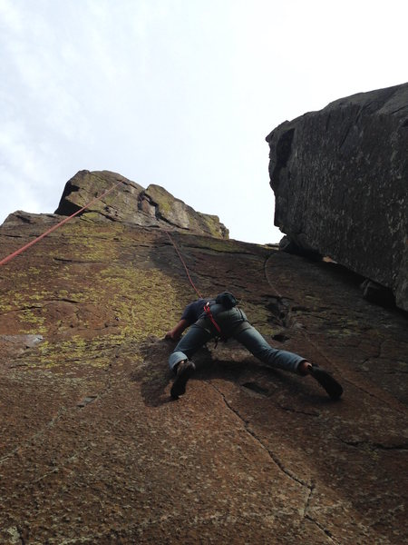 "Rock Climbing Photo: Traversing the ""rail"""